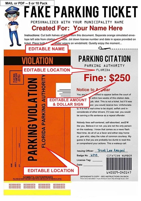 Mail or pdf personalized fake parking ticket what a great etsy altavistaventures Choice Image