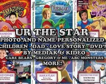 Children  Personalized DVD'S - Kideo - Mediak - Little Mermaid, Amazing Kid and Dad, Care Bears, Barney, Spiderman, Dora