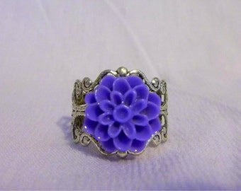 Antique Silver Dahlia Rings