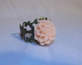 Vintage Brass Dahlia Rings