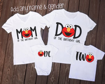 60dbe0e7 Sesame Street Elmo Birthday Shirts, Family of the Birthday Girl or Boy Shirt  Set with Age, Elmo T-shirt, Tee, Bodysuit, Im One Elmo