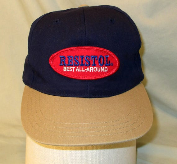 Resistol Hat Cap Snapback Genuine Leather Strap w  Brass Buckle Vintage  1980s RARE f31fb10aca2