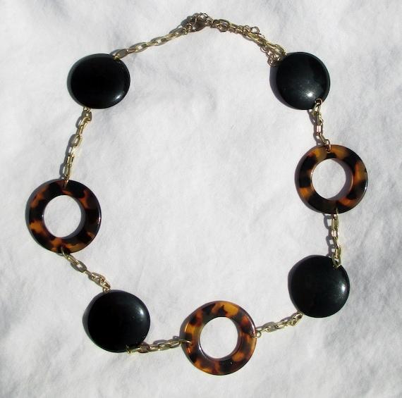 Bakelite Necklace Art Deco Leopard Print Rings Bla