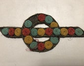 Vintage Appliqué Buckle, Metallic Gold with Embroidered Yellow, Blue, Red Dots, 6 1 2 x 2 3 4, made in Switzerland