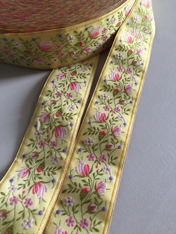 1 18 inches wide Hot Pink Background with Pink Ombre with Green and Yellow Florals French Floral Jacquard Ribbon