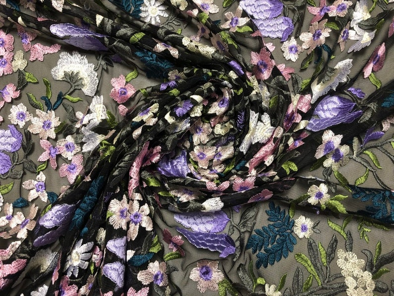 Embroidered Lace Tulle Violet Grapes 54 inches wide price is per Yard Green and Violet florals on a Black tulle White Blush