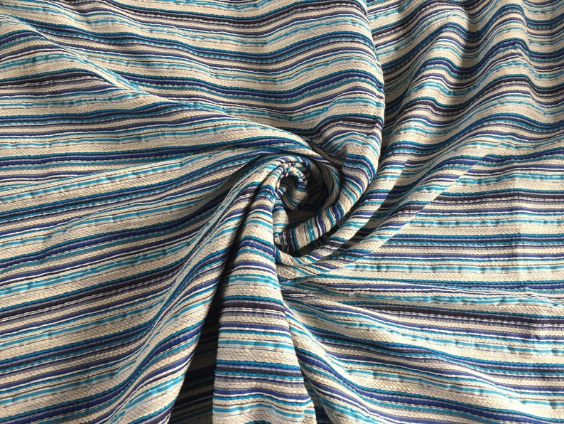 Boucle with Stripe pattern Made in Italy Blues and Whites 1 14 yard piece 60 wide