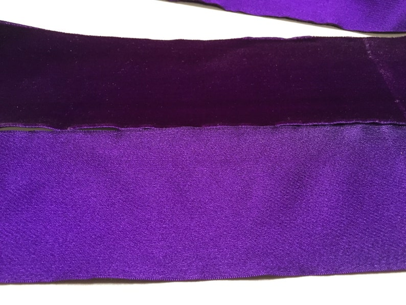 Made in France Satin Back Velvet Ribbon in Royal Purple 3 18 inches wide Price is per Yard