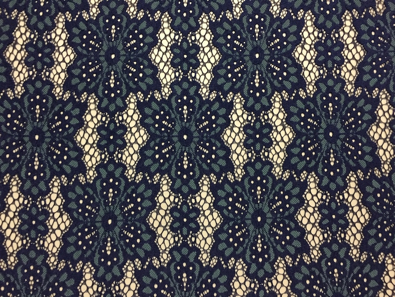 60 wide 5 yard piece two-toned Dark Teal and Navy Geometric Floral pattern Chantilly Lace