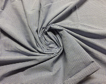 """100% Cotton Shirting, Gingham Plaid in Navy Blue and off-White, 1 3/8 yard piece, 58"""" wide"""
