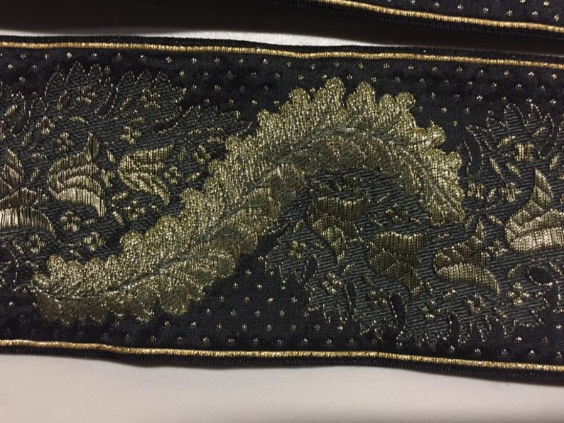made in France Vintage Ribbon in Black with a Metallic Gold Paisley pattern Price is per Yard 2 58 inches wide