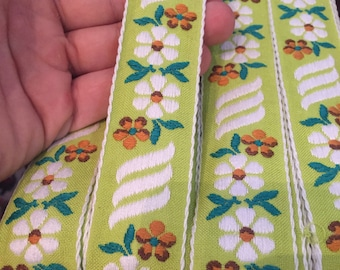 Vintage 100% cotton green floral ribbon, french, beautiful, green background with dark green, white and marigold florals