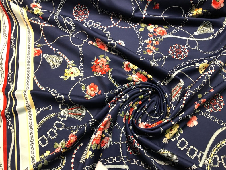 Scuba Knit Print Red Floral Print with Double Border Pinks 60 wide Yellow Navy and Light Blue Price is per Yard
