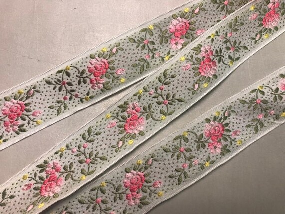 French Floral Jacquard Ribbon 1 18 inches wide White Background with Pink ombre with Green and Yellow Florals