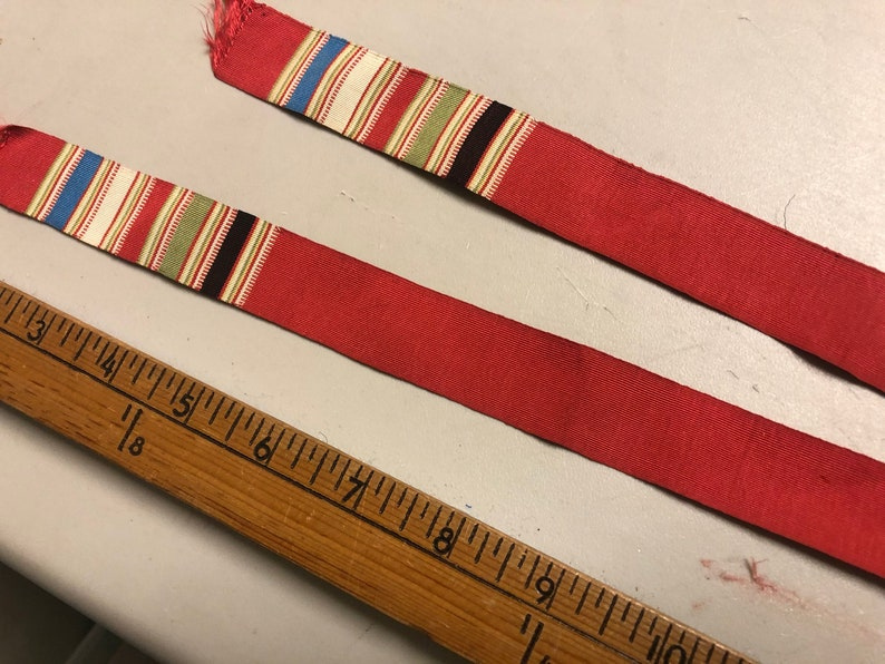 Vintage Faille Neck Stole with Striped edge White Stripe Red with White Green Black 31 inches long x 1 18 inches wide Blue