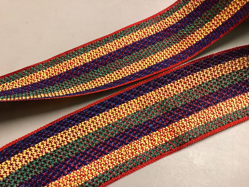 Vintage Cotton Striped Ribbon Red Price is per Yard 1 78 inches wide Green and Yellow Blue