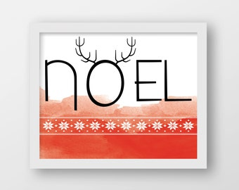 Noel Art Print - Christmas Art - Holiday Decor - Holiday Card