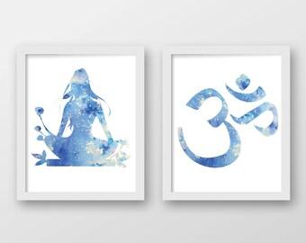 Watercolor Meditation Art Print Set of 2 - Yoga Art - Om Art - Set of 2 Prints