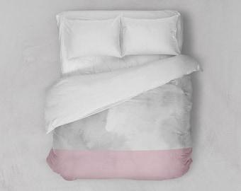 Pink Bottom Duvet Cover   Watercolor Bedding   Modern Duvet Cover