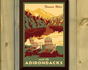 Adirondack New York Vintage Travel Poster- Lake, Fall Leaves and Mountains Art Print