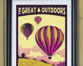 Hot Air Balloon Vintage Travel Poster- See The World From Above Art Print