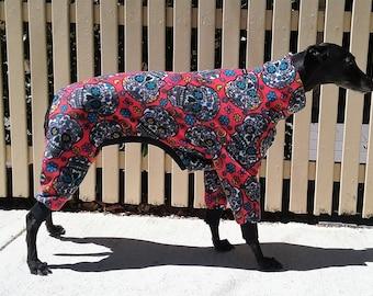 Greyhound pyjamas by Snug Hounds Custom Made