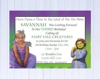 "Digital file Shrek Princess Fiona Birthday Invitation-Printable JPEG File Emailed - Plus FREE ""Thank You Card"" for all invitations"