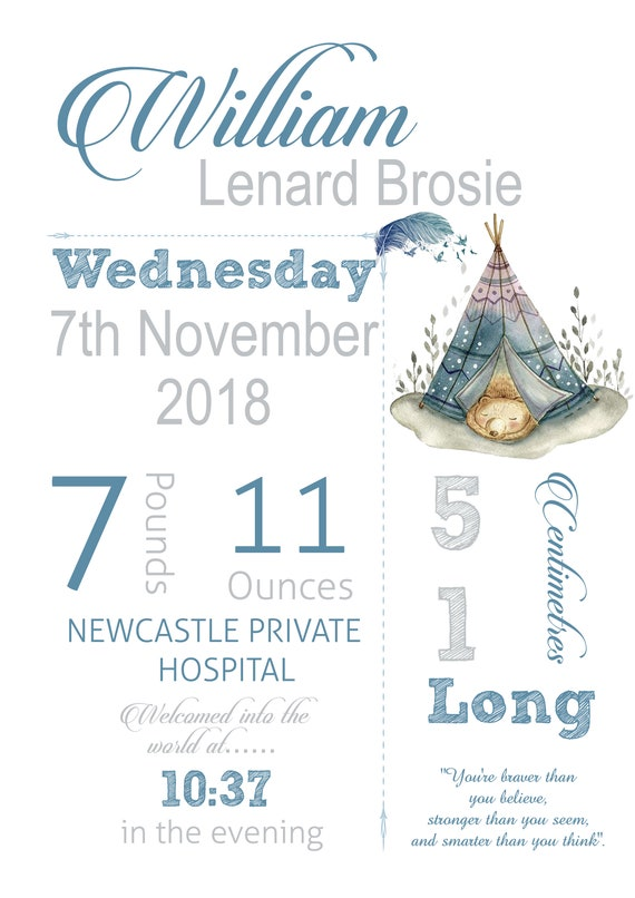 Woodlands Includes 3 sizes Digital File JPEG /& PDF Files Baby Announcement Details Personalised Baby Nursery Decor Wall Art Print