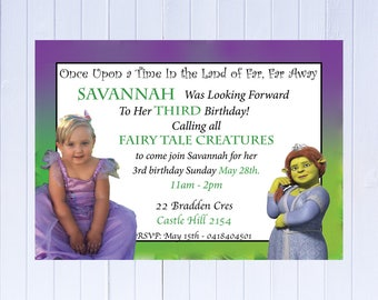 """Professionally Printed Princess Fiona  Birthday Invitation """"Plus FREE Thank you Card"""". Also available as a Printable JPEG File!"""