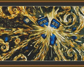 Exploding Tardis Police Box Doctor Who Cross Stitch Pattern (Large 300 x 184 stitches) in PDF for Instant Download