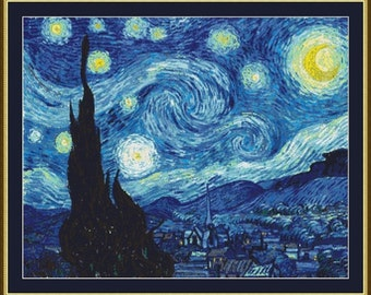 Starry Night by Vincent van Gogh Counted Cross Stitch Pattern in PDF for Instant Download