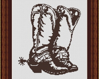 Cowboy Boots Counted Cross Stitch Pattern in PDF for Instant Download