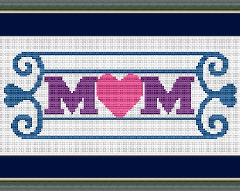 Mom's Heart Counted Cross Stitch Pattern in PDF for Instant Download (SKU1002)