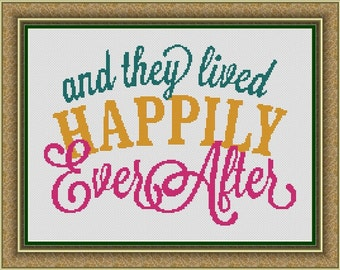 And They Lived Happily Ever After Counted Cross Stitch Pattern (14.21 x 10.21 in or 36.10 x 25.94 cm) download printable PDF Chart (4034)