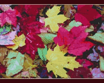 Autumn Fall Wet Colorful Leaves Counted Cross Stitch Pattern in PDF for Instant Download