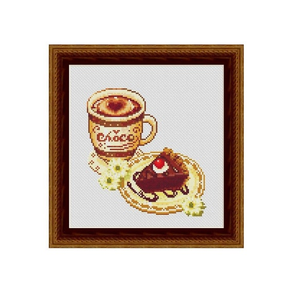 Cake and Coffee Counted Cross Stitch Pattern in PDF for
