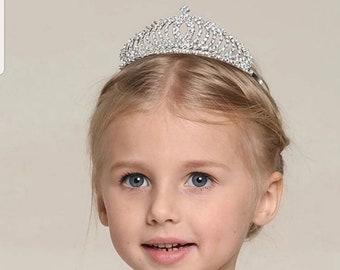 Flower Girl Bridesmaid First Communion Confirmation Tiara Hair Headband with Rhinestones