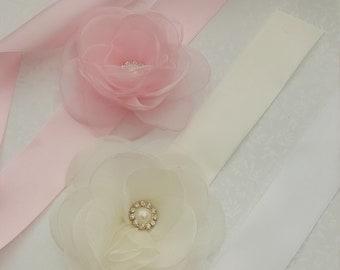 a5362d693c4 Luxury Flower Girl   Bridesmaid l Sash Belt Satin Ribbon Organza Flower  white