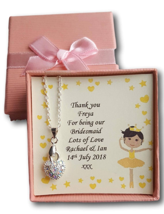 Personalised necklace little flower girl bridesmaid thank you gift present