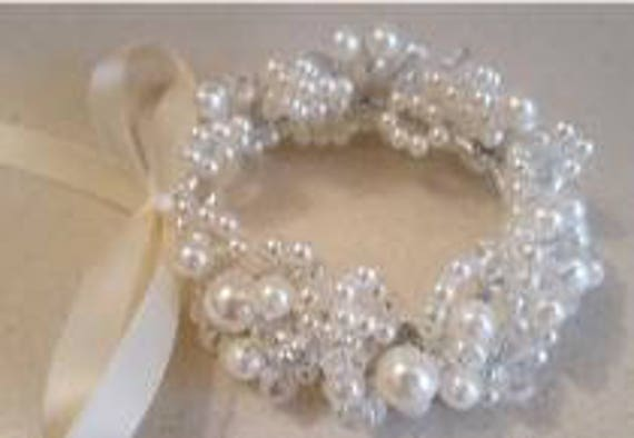 HAIR BUN RING  BRIDESMAID FLOWER GIRL PEARL CONFIRMATION  FIRST HOLY COMMUNION