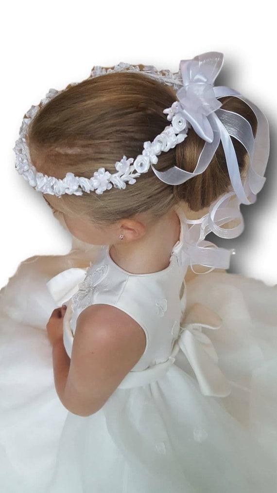 PINK WHITE organza flower DIAMANTE HEART Personalised girls baby HEADBAND