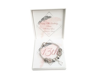 Girls 13th 12th 11th 10th Birthday Gift Present White Leather Bracelet with charm