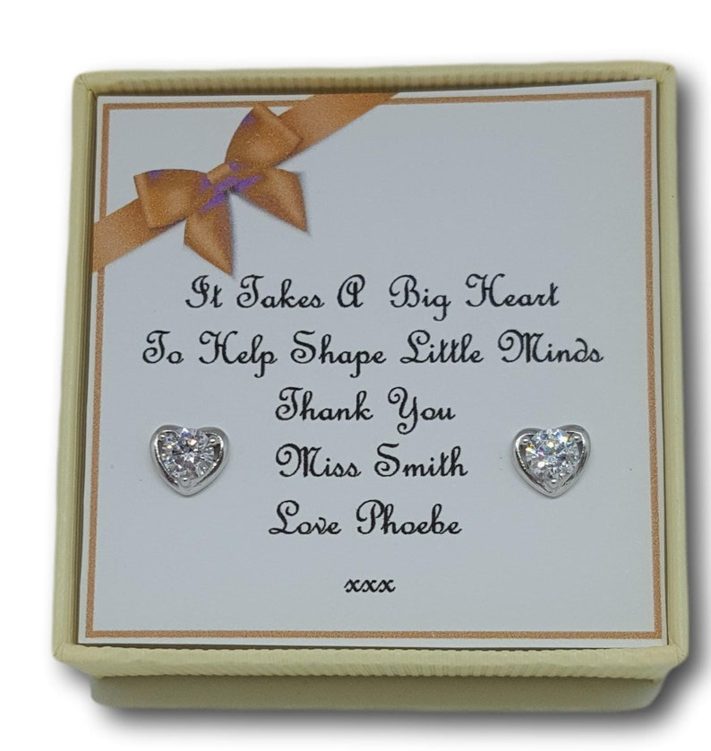 Personalised Thank You Teacher Assistant Nursery  Silver Earrings Gift Boxed