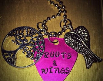 Pink Gunmetal Guitar Pick Roots & Wings Handstamped Necklace, Miranda Lambert Lyrics
