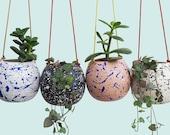 Hand-painted Ceramic Splatter Round Hanging Planter