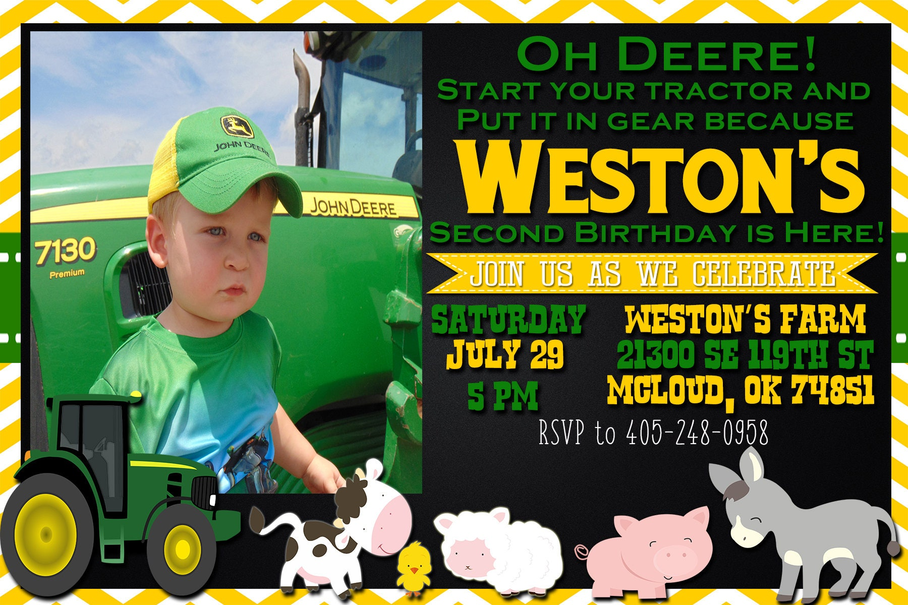 john deere//oh deere birthday invitation | etsy