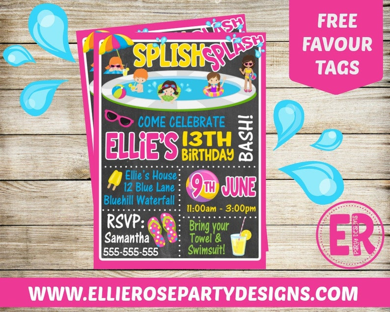 Pool Party Invitation For Girls Splish Splash Party For Kids