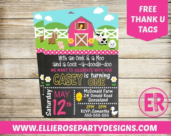 pink farm birthday party girl farm birthday invitation farmyard