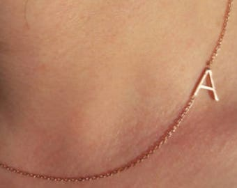 İnitial Necklace-Sideways Necklace-İnitial Sideways Necklace-Letter Necklace-Bridesmaid Gift-925K Silver Handmade Sideways Initial Necklace