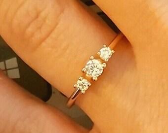 Cluster Ring / Gold Ring / Diamond Ring / Rose Gold Ring / Diamond Jewelry / Stacking Rings